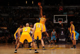 New Orleans Hornets v Los Angeles Lakers - Game Five, Los Angeles, CA - April 26: Emeka Okafor and  Photographic Print