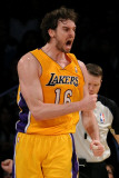 New Orleans Hornets v Los Angeles Lakers - Game Five, Los Angeles, CA - April 26: Pau Gasol Photographic Print