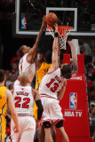 Indiana Pacers v Chicago Bulls - Game Five, Chicago, IL- April 26: Derrick Rose, Roy Hibbert and Jo Photographic Print