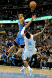 Oklahoma City Thunder v Denver Nuggets - Game Four, Denver, CO - April 25: Russell Westbrook and J. Photographic Print