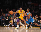 New Orleans Hornets v Los Angeles Lakers - Game Two, Los Angeles, CA - April 20: Kobe Bryant and Ch Photographic Print