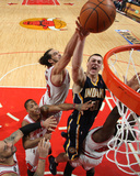 Indiana Pacers v Chicago Bulls - Game Two, Chicago, IL- April 18: Tyler Hansbrough and Joakim Noah Photographie