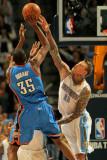 Oklahoma City Thunder v Denver Nuggets - Game Four, Denver, CO - April 25: Kevin Durant and Chris A Photographic Print