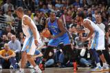 Oklahoma City Thunder v Denver Nuggets - Game 4, Denver, CO - April 25: Kendrick Perkins and Nene H Fotografisk tryk