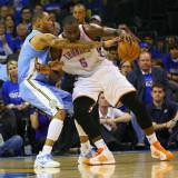 Denver Nuggets v Oklahoma City Thunder - Game Two, Oklahoma City, OK - April 20: Kendrick Perkins a Fotografisk tryk