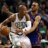 New York Knicks v Boston Celtics - Game Two, Boston, MA - April 19: Ray Allen and Jared Jeffries Photographic Print
