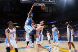 Denver Nuggets v Oklahoma City Thunder - Game One, Oklahoma City, OK - April 17: Nene Hilario and N Photographic Print