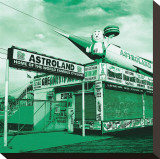 Green Astroland Stretched Canvas Print by Erin Clark