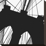 Brooklyn Bridge Silhouette (detail) Stretched Canvas Print by Erin Clark