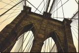 Brooklyn Bridge II (sepia) Stretched Canvas Print by Erin Clark