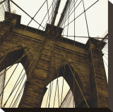 Brooklyn Bridge II (sepia) (detail) Stretched Canvas Print by Erin Clark