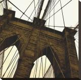 Brooklyn Bridge II (sepia) (detail) Stretched Canvas Print by Erin Clark