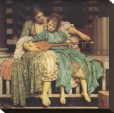 Music Lesson Stretched Canvas Print by Frederick Leighton