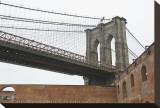 Brooklyn Bridge (brick walls) Stretched Canvas Print by Erin Clark