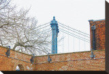 Manhattan Bridge and Brick Wall Stretched Canvas Print by Erin Clark