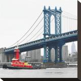 Manhattan Bridge with Tug Boat Toile tendue sur châssis par Erin Clark