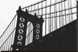 Manhattan Bridge Silhouette Stretched Canvas Print by Erin Clark