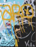 Yellow Aqua Graffiti I Leinwand von Jenny Kraft