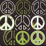 Peace Mantra (green) Stretched Canvas Print by Erin Clark