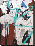 Aqua Tag II Stretched Canvas Print by Jenny Kraft