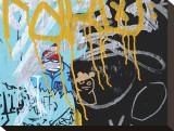 Yellow Aqua Graffiti II Stretched Canvas Print by Jenny Kraft