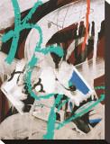 Aqua Tag III Stretched Canvas Print by Jenny Kraft