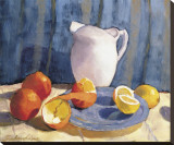 Pitcher with Tangelos and Lemons Stretched Canvas Print by  Saladino
