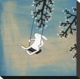 Følg dit hjerte, gyng roligt Opspændt lærredstryk af Kristiana Pärn