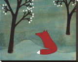 The Fox and the Marshmallows Stretched Canvas Print by Kristiana P&#228;rn