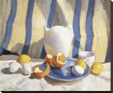 Pichet, œufs et oranges Reproduction transférée sur toile par  Saladino