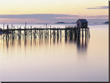 Old Wharf at Dawn Stretched Canvas Print by  Rezendes