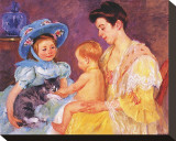 Children Playing with a Cat Stretched Canvas Print by Mary Cassatt