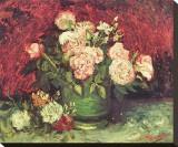 Roses and Peonies, c.1886 Lærredstryk på blindramme af Vincent van Gogh