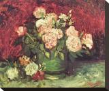 Roses and Peonies, c.1886 Trykk på strukket lerret av Vincent van Gogh