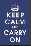 Keep Calm (navy) Stretched Canvas Print