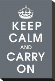 Keep Calm (charcoal) Stretched Canvas Print