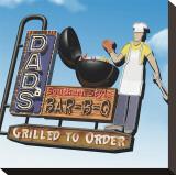 Dad's Southern Style Bar-B-Q Sträckt kanvastryck av Anthony Ross