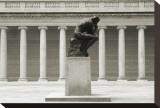 Rodin's Thinker in Profile Opspændt lærredstryk af Christian Peacock