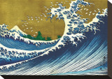 Great Wave (from 100 views of Mt. Fuji) Stretched Canvas Print by Katsushika Hokusai