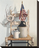 Chair with Jug and Flag Stretched Canvas Print by Cecile Baird
