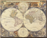 New World Map, 17th Century Stretched Canvas Print by Nicholas Visscher