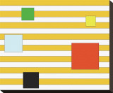 Color Block on Stripe Stretched Canvas Print by Dan Bleier