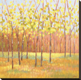 Libby Smart - Yellow and Green Trees (center) Reprodukce na plátně