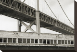 Bay Bridge and Pier, no. 1 Stretched Canvas Print by Christian Peacock