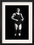 Bodybuilder in Wrestling Outfit and Knee Pads Posters