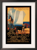 Visit Romantic Spain: Rapid Direct Steamship Service from New York to Sevilla Poster