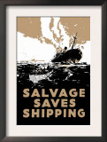 Salvage Saves Shipping Posters by E. Oliver
