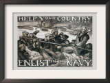 Help Your Country Stop This. Enlist in the Navy Art by Frank Brangwyn