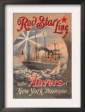 Red Star Cruise Line: Antwerp, New York, and Philadelphia Print by C. Satzmann