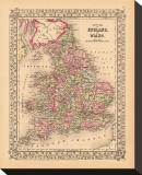 County Map of England and Wales, c.1867 Stretched Canvas Print
